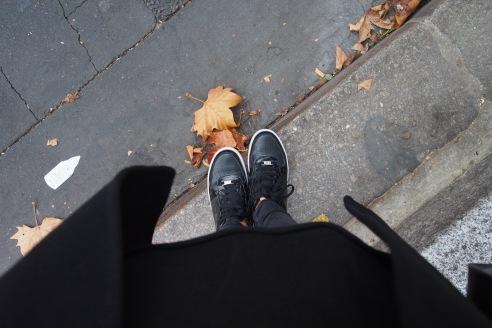 classic shot featuring #autumn #shoes #coat #jeans #concrete #pavers #cracks