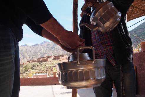 hand washing, a necessity especially after camel riding